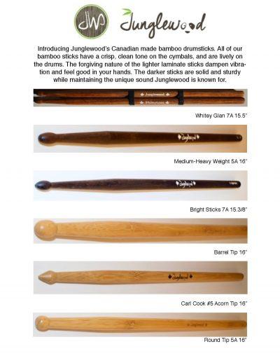 Junglewood Bamboo Drumsticks Varieties Nice Tonned, Long Lasting