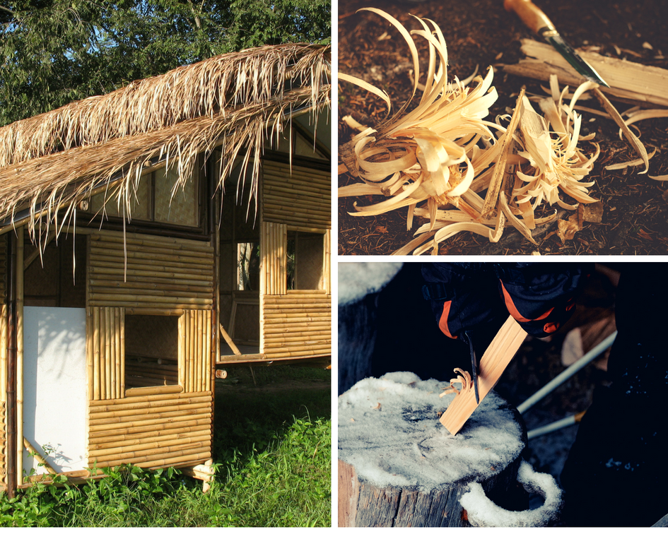 bamboo house, shavings and tools